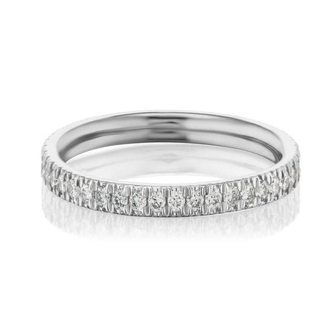 Groove Set Pave Diamond Band