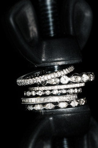 delicate diamond stacking bands