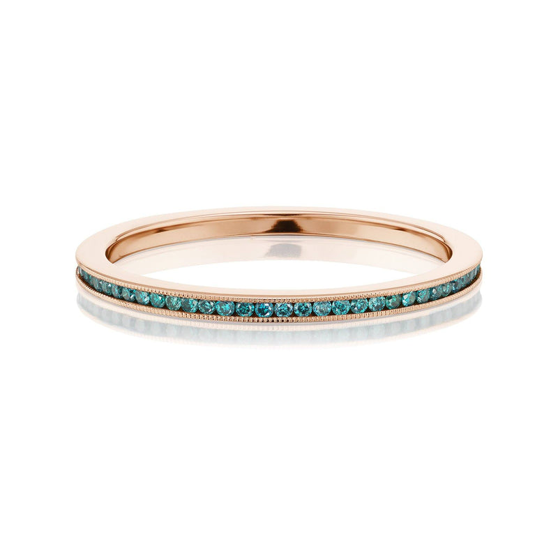 Teal Diamond Eternity Band Rose Gold