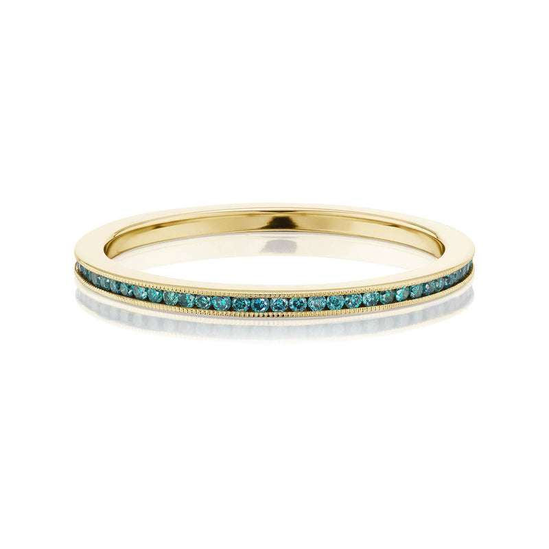 Teal Diamond Eternity Band Yellow Gold
