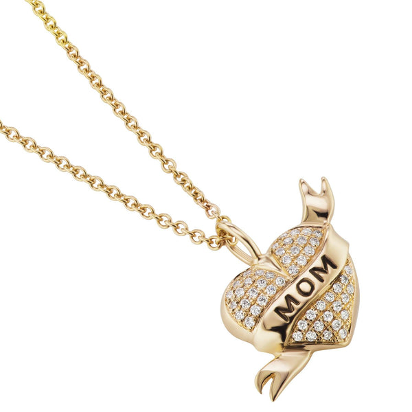 Mom Tattoo Heart Necklace