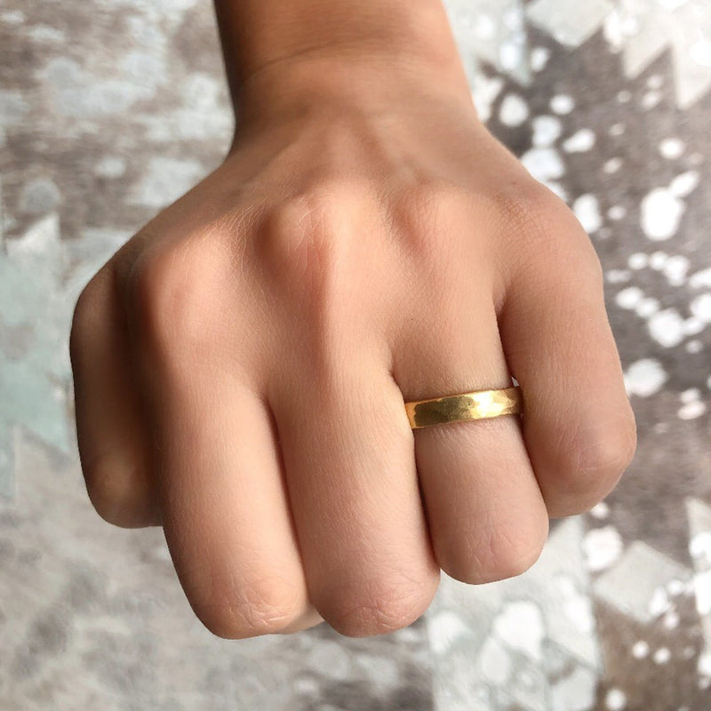 Hand Hammered 4mm Wedding Band in Yellow Gold
