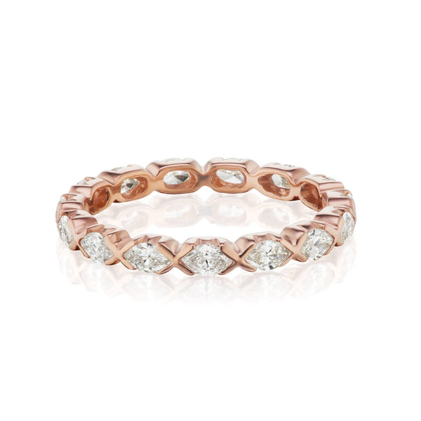 rose gold marquise diamond band