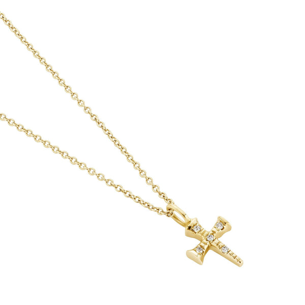 Delicate Diamond Cross Necklace Yellow Gold