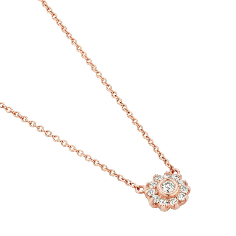 Diamond Cluster Necklace Rose Gold