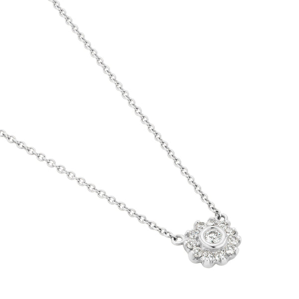 Diamond Cluster Necklace White Gold