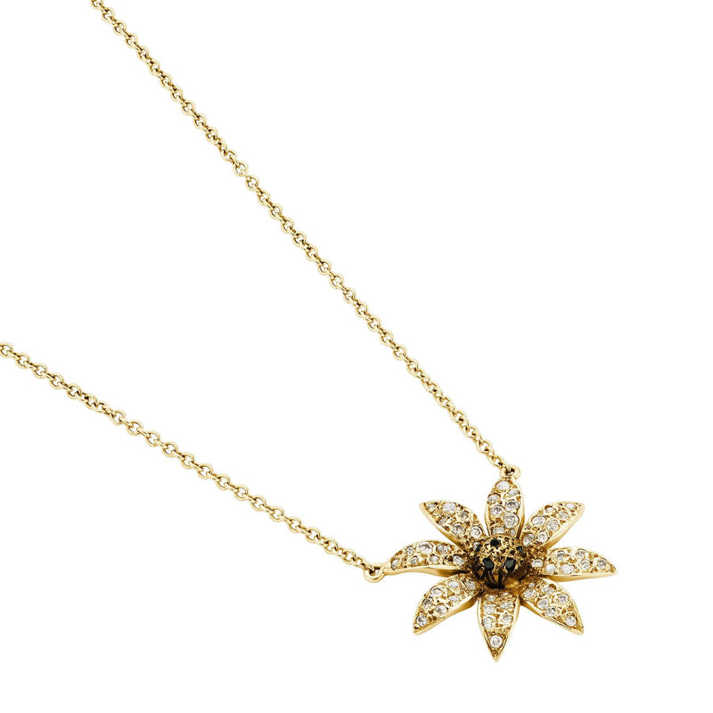 Diamond Flower Necklace Yellow Gold