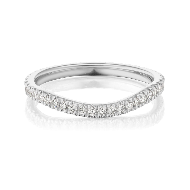 Curved Diamond Nesting Band White Gold