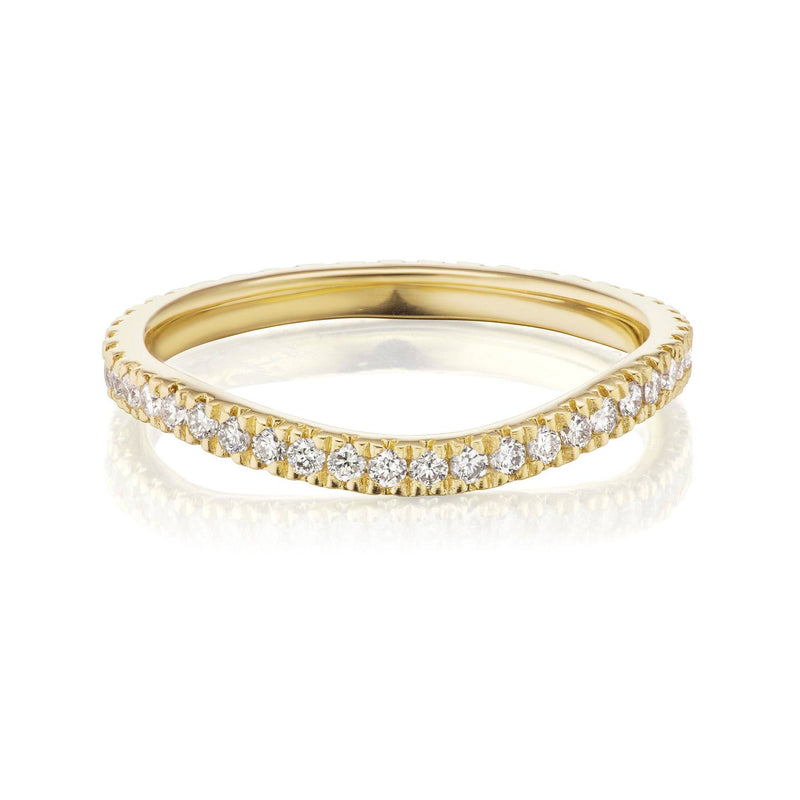 Curved Diamond Nesting Band Yellow Gold