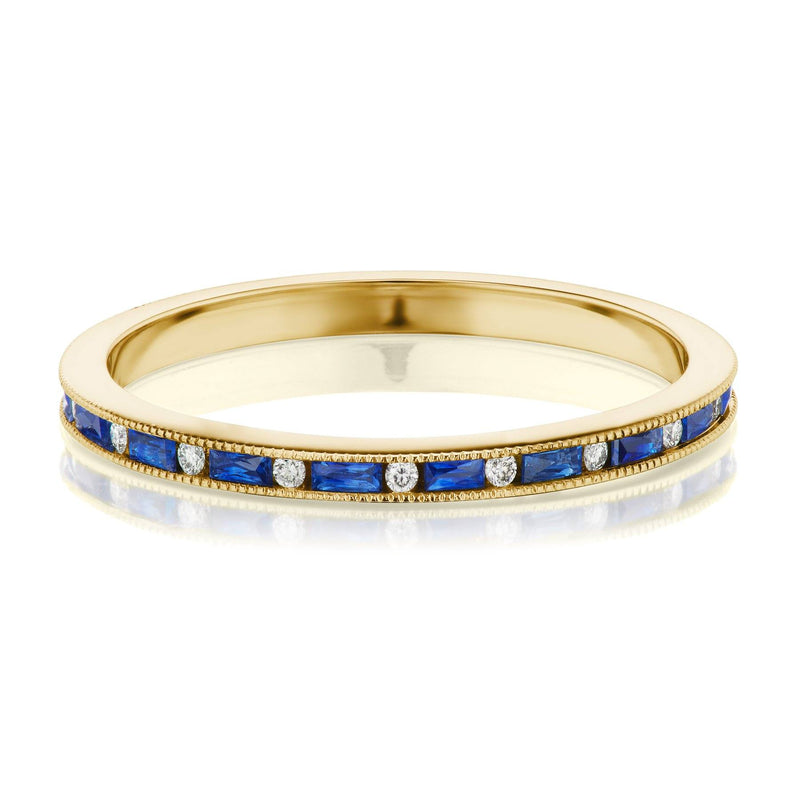 yellow gold sapphire diamond band