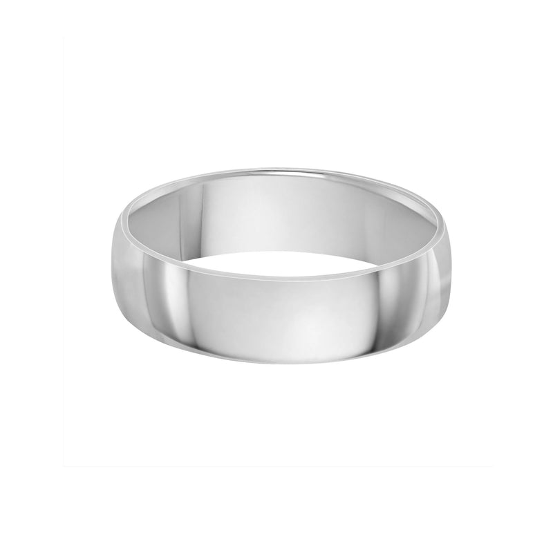classic 6mm wedding band white gold