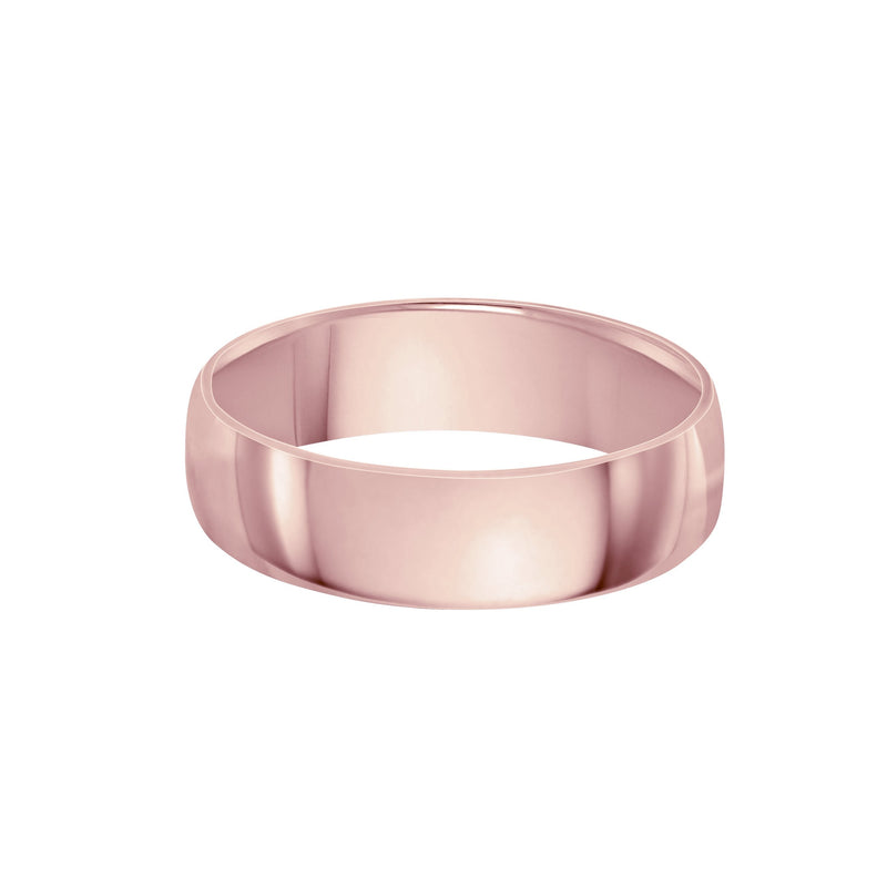 classic 6mm wedding band pink gold