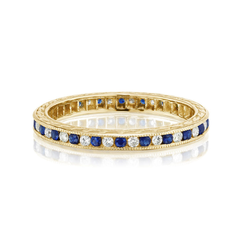 Alternating Sapphire and Diamond Band in Yellow Gold