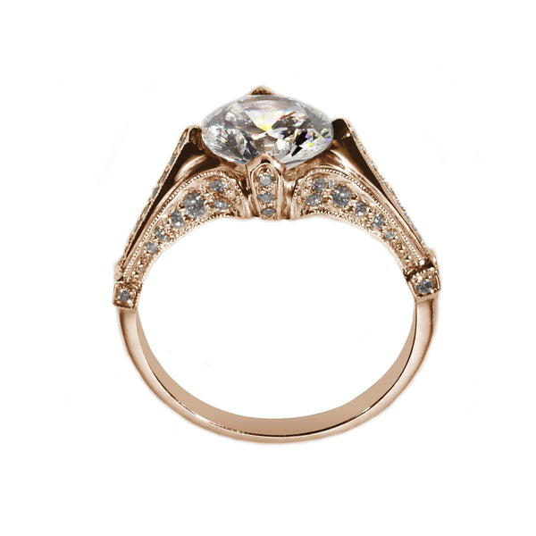 rose gold antique style engagement ring side view