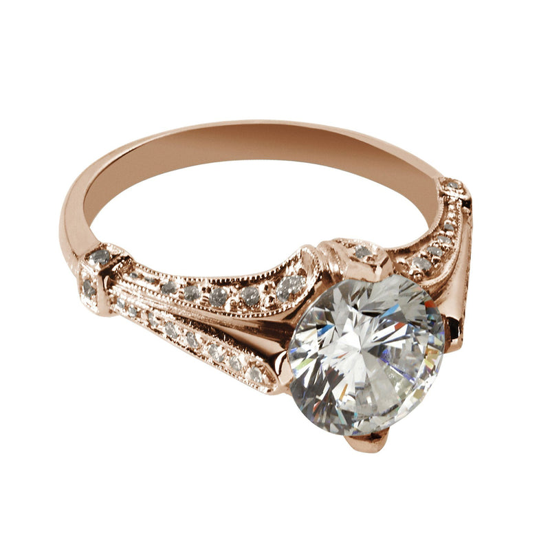 rose gold antique style engagement ring