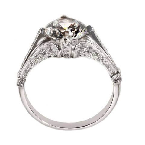 Antique style engagement ring side detail