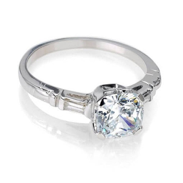 Classic vintage engagement ring with asscher cut diamond