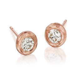 Rose Gold Hammered Studs
