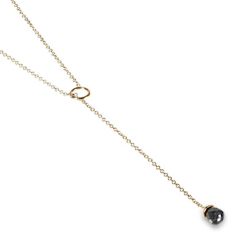 Black Diamond Lariat Necklace Rose Gold