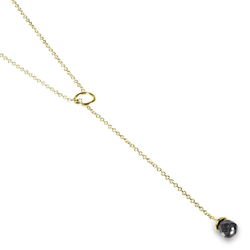 Black Diamond Lariat Necklace Yellow Gold