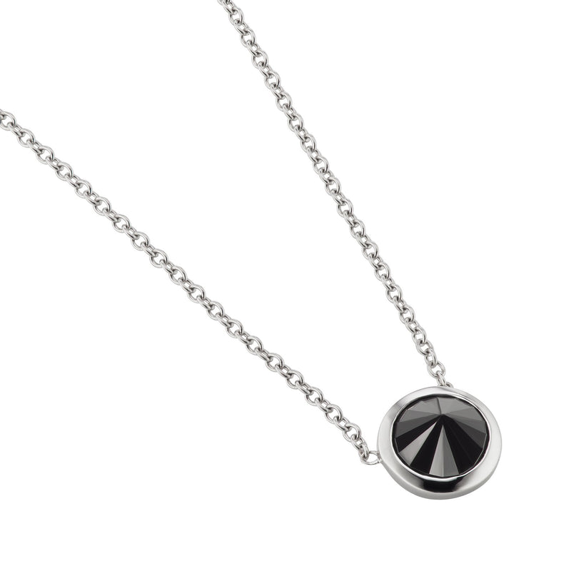 Black Diamond Solitaire Yellow Gold Necklace
