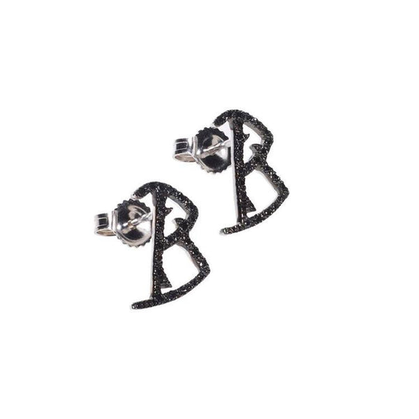 Initial B diamond earrings. Catherine Angiel
