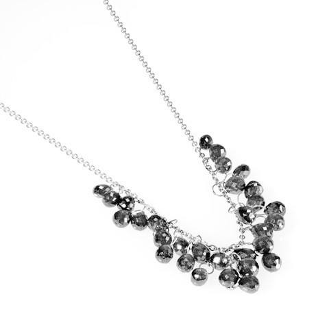 Black diamond briolette cluster necklace