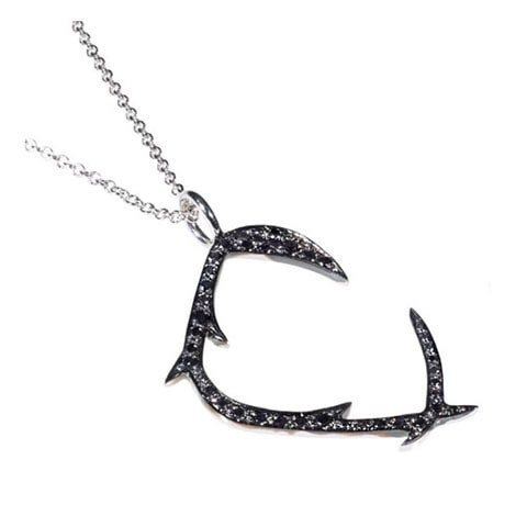 Black diamond C necklace