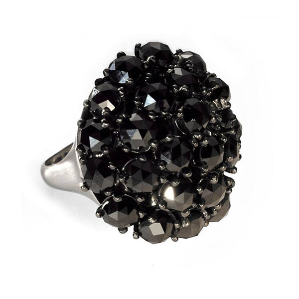 Edgy black diamond cocktail ring