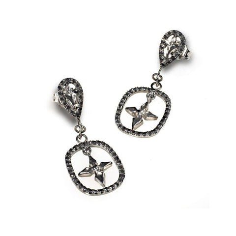 Black diamond cross earring studs