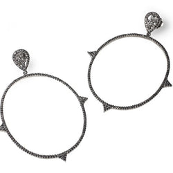 Edgy black diamond hoop earrings