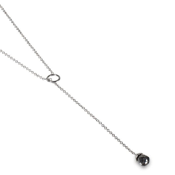Black diamond drop necklace