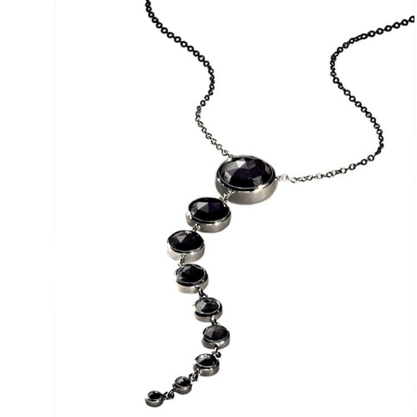 Unique black diamond drop necklace