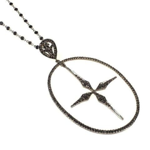 Edgy black diamond cross necklace