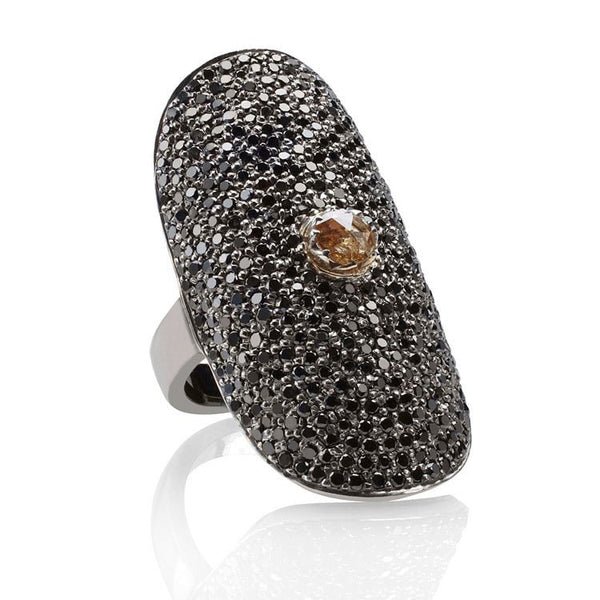 Black diamond full finger ring