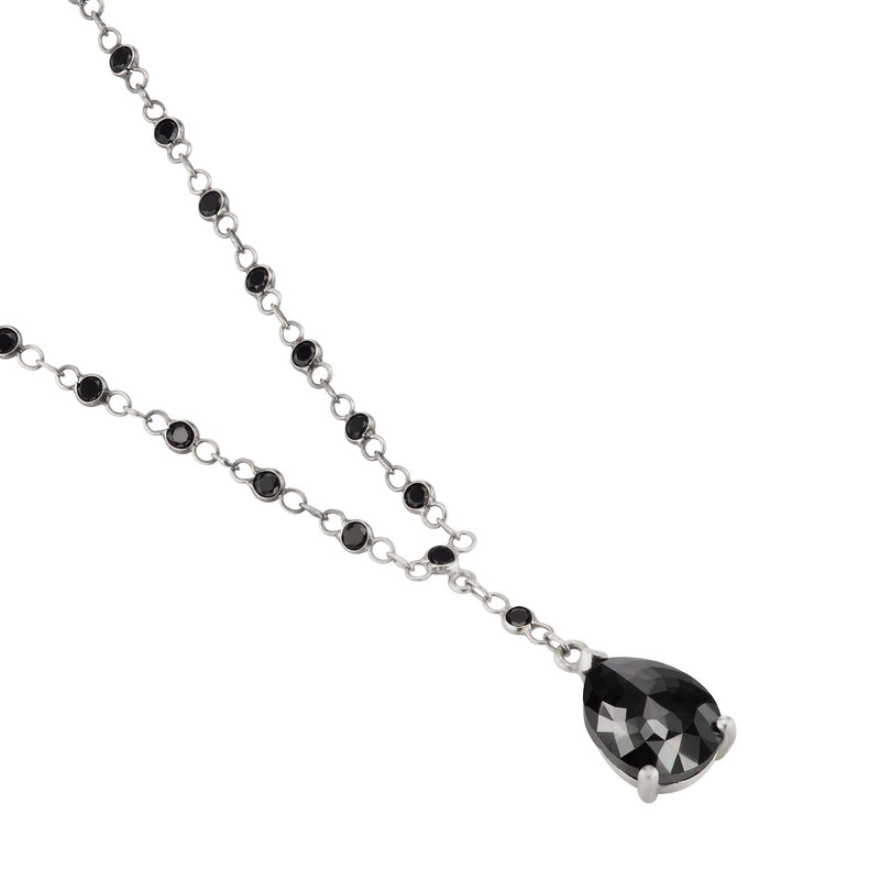 Black Diamond Pear Shape Necklace in White Gold