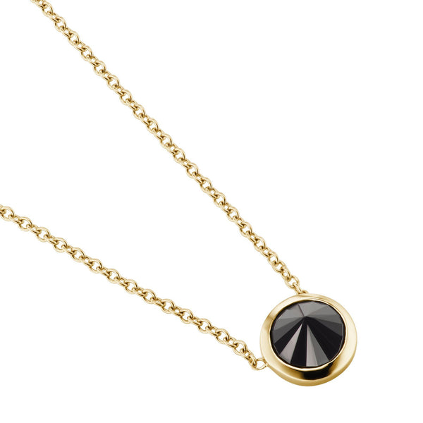 Black diamond yellow gold necklace