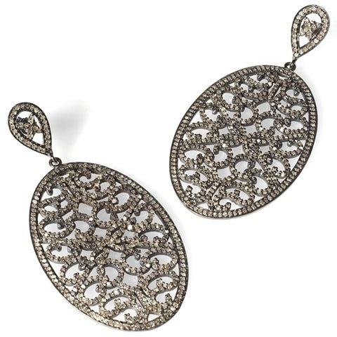 Champagne diamond filigree earrings