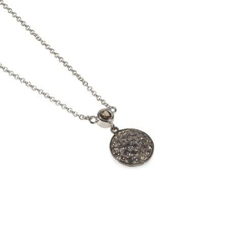 Pave diamond disk necklace