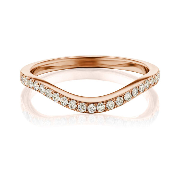 Rose Gold Curved Pave Diamond Band