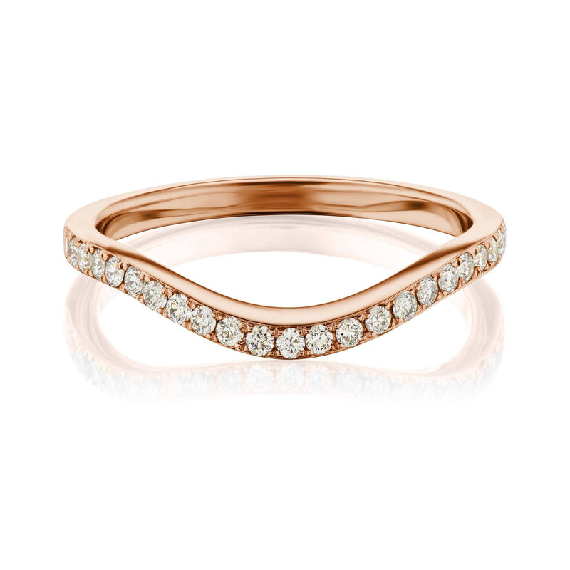 curved diamond band rose gold