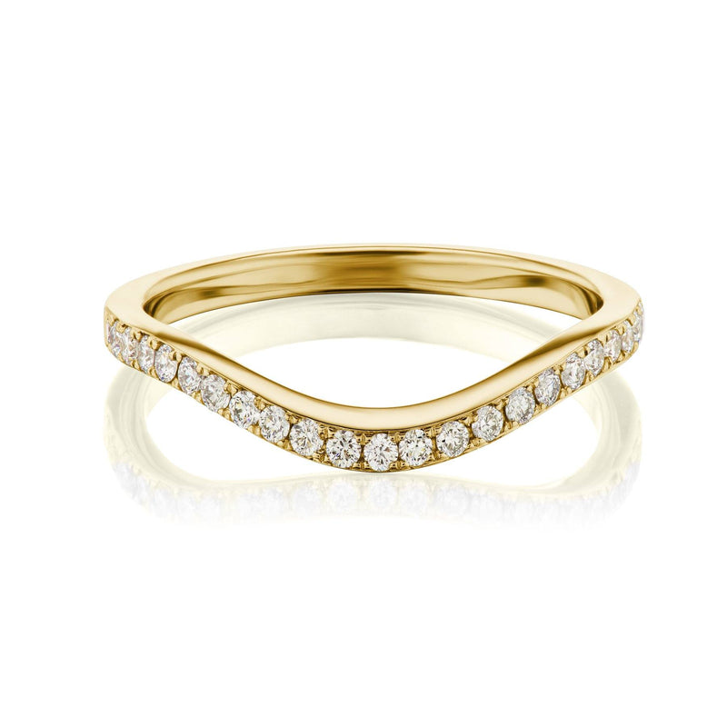 curved diamond band yellow gold