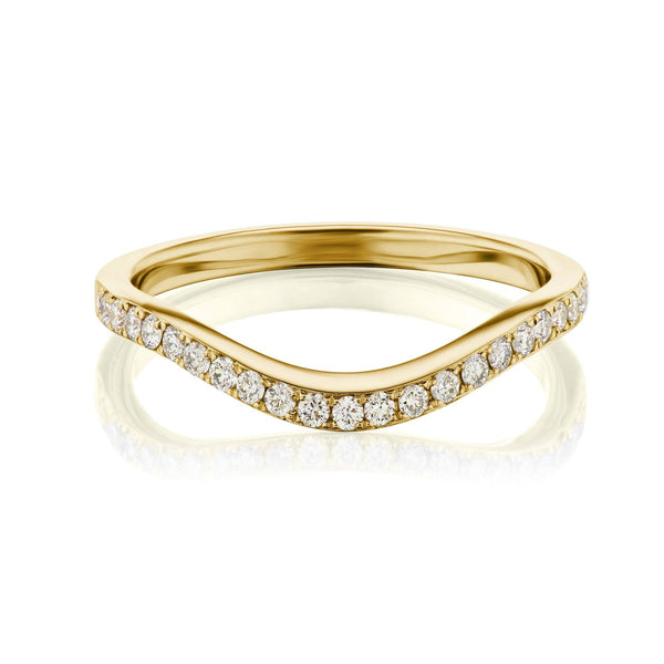 Yellow Gold Curved Pave Wedding Band
