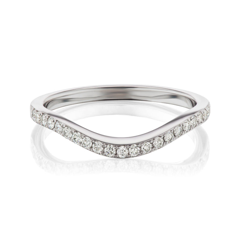 curved diamond band white gold