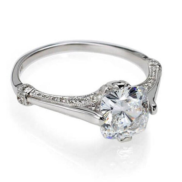 Cushion cut diamond engagement ring antique inspired