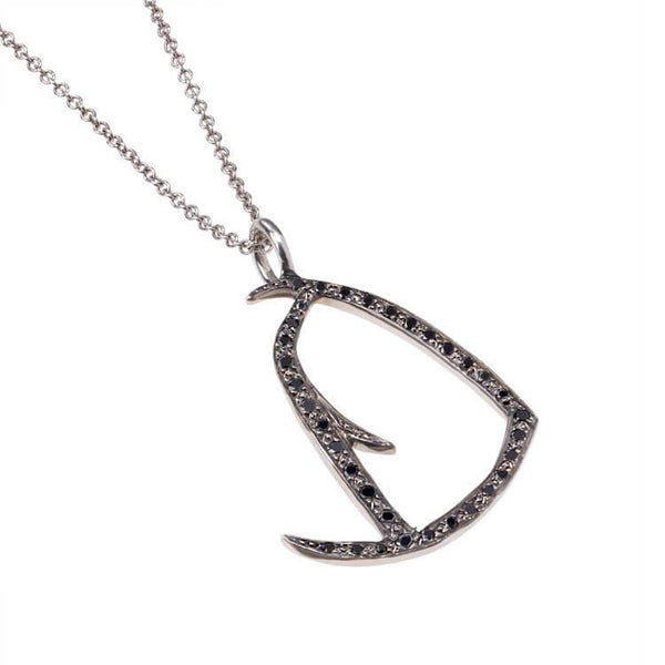Black Diamond Initial D Necklace