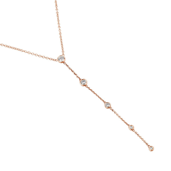 Rose Gold Diamond Drop chain Necklace