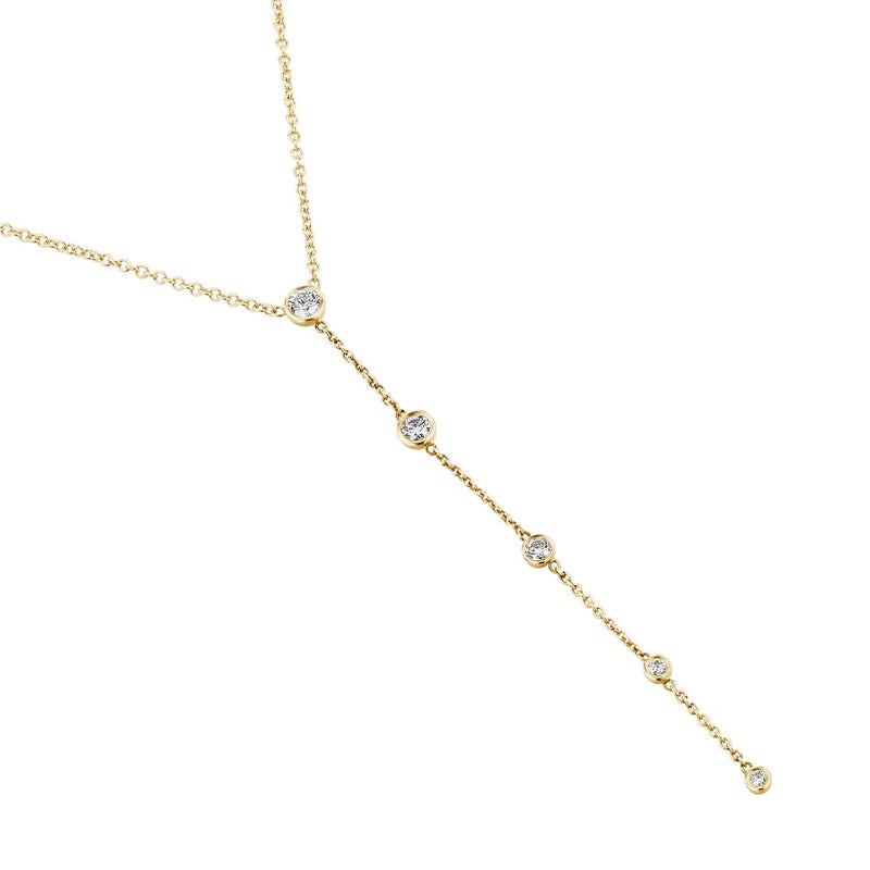 Yellow Gold Diamond Drop chain Necklace