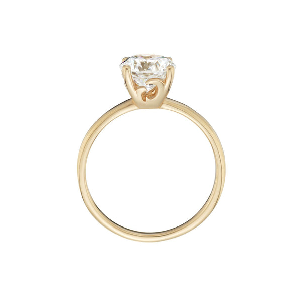 Solitaire Diamond Wave Ring Side View