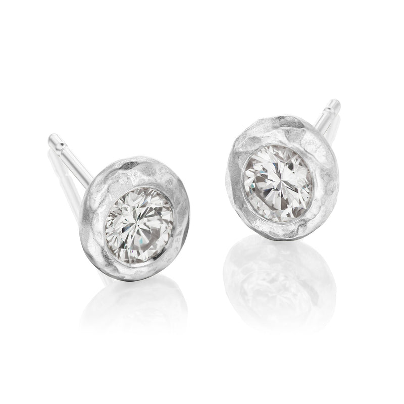 white Gold Hammered Studs